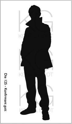 Die 125 - Konfirmant gutt Silhouette Portrait, Stonehenge, Big Shot, Shots, Canvas, Confirmation, Scrapbook, Metal, Tela