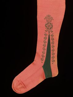 Clocked stockings England, Great Britain (possibly, made)  France (possibly, made) ca. 1750-1770 Knitted silk, embroidered V&A Collections
