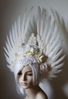 White Angelic Bride Headdress - white wings, roses, and wedding lace, bridal, costume, angel, festival, formal, fantasy wedding