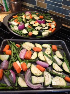 Super-simple and low cal roasted veggies, pork roast & salt-roasted onions