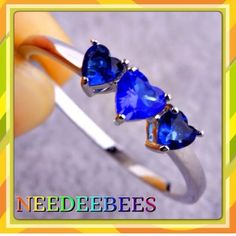 Sapphire heart ring Beautiful 3 stone heart ring set in plated sterling silver Jewelry Rings