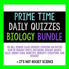 This product, by It's Not Rocket Science, is a compilation of editable daily quizzes or bell ringers to start off each class period. It includes 145 days worth of assessments covering a year's worth of biology content. Units covered include: • Biology Basics: