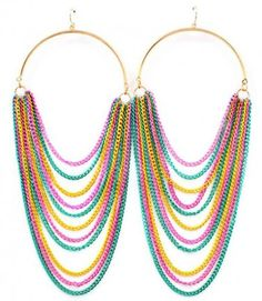 6 Inch Drop Hoop Draping Chain Earrings Statement Multi-color Chains Basketball Wives Style @modtoast #CyberMonday Starts Now!