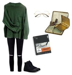 """""""Untitled #46"""" by vivi-g6 on Polyvore featuring Converse, Alexis Bittar, StreetStyle, Fall, converse, glasses and sketchbook"""