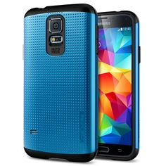 Spigen® [AIR CUSHION] Samsung Galaxy S5 Case Slim [Armor] [Slim Armor Electric Blue] DOTTED Design Slim Fit Dual... - List price: $24.99 Price: $19.99