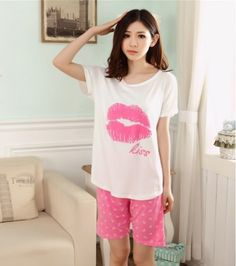 CW27979 Girl lip cartoon pajamas Korean style summer milk silk sets
