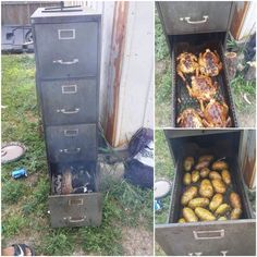 Recycled up cycled filing cabinet smoker