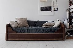 daybed. uhhh denim heavy cotton and wood