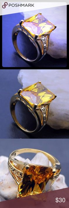 """💛GORGEOUS BRIGHT YELLOW CITRINE RING•18 KT GP💛 💛GORGEOUS BRIGHT YELLOW CITRINE RING Weight : 41 CT Metal: 18k GP Main Stone: Citrine Theme:2016 CHRISTMAS  Stone Dimension: 5/8"""" x 1/2"""" Size: 7 Stamp/Mark: 925💛 Jewelry Rings"""