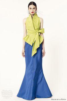 oscar de la renta 2014 resort sleeveless apple indigo gown