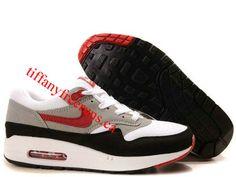 Mens Nike Air Max 1 White Varsity Red Medium Grey Shoes
