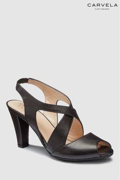 d5b16df03b Womens Carvela Comfort Black Leather Annabel Heeled Sandal - Black Carvela  Comfort, Black Sandals,