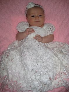 The Kate  Crochet Christening Dress Blessing by OopsieDaisyDesigns, $95.00
