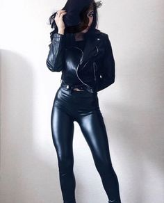 Black Vegan Leather Leggings - Dizaster In A Halo Sexy Outfits, Fashion Outfits, Fashion Moda, Girl Fashion, Gothic Fashion, Leather And Lace, Leather Pants, Black Leather, Leder Outfits
