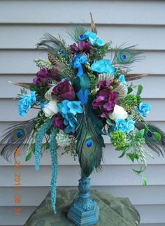 Teal and Purple Peacock Pedestal Floral Arrangement ! by on Etsy Peacock Decor, Peacock Colors, Peacock Theme, Peacock Feathers, Peacock Bedroom, Peacock Art, Peacock Wedding Centerpieces, Wedding Decorations, Centerpiece Decorations