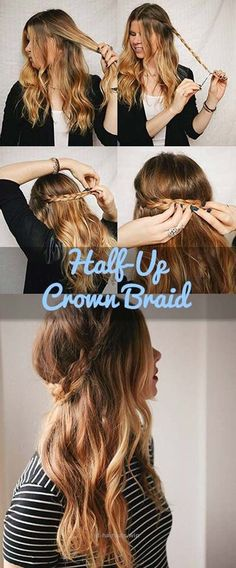 Check it out Festival Hair Tutorials – Half-Up Crown Braid – Short Quick and Easy Tutorial Guides and How Tos for Braids, Curly Hair, Long Hair, Medium Hair, and that Perfect Updo ..