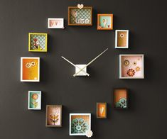Find 12 (or 4) small pieces of framed wall art, put them into their numerical positions... then just add a clock kit in the middle & you have a stylish wall clock!