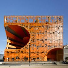 The Orange Cube design showroom in Lyon, France, by Paris studio Jakob + Macfarlane. Orange Architecture, Futuristic Architecture, Beautiful Architecture, Contemporary Architecture, Architecture Details, Architecture Art, Unique Buildings, Interesting Buildings, Amazing Buildings
