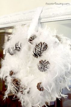 DIY:: Winter White Holiday Wreath {Crate & Barrel Inspired} boa and foam wreath Feather Boas, Feather Wreath, Feather Crafts, Feathers, Wreaths And Garlands, Holiday Wreaths, Door Wreaths, Holiday Crafts, Christmas Decorations