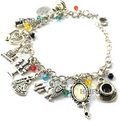 Amazon.com: Beauty & The Beast Silver Charm Bracelet: Clothing ($15) ❤ liked on Polyvore featuring jewelry, bracelets, silver bangles, silver jewelry, silver jewellery, charm bracelet and silver charm bracelet
