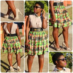 --Outfit details-- Ankara Skirt: Made in Ghana| Top: Oz Jeans| Shoes: Novo| Belt: Little JC| Sunglasses: Florentine Eyewear| Bracelet: HTW| #OOTD #style #fashion