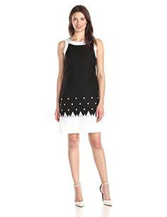 89b4815fb3277 Jessica Howard Women's Framed Embroidered Shift Dress, Black/White, 8 at Amazon  Women's Clothing store: