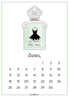 Calendrier d'Avril et fond d'écran organisé - La Petite Robe Noire de Guerlain