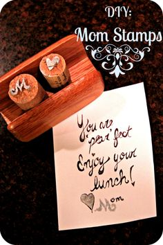 Keep Calm and Craft: DIY Wine Cork Mom Stamps - This sounds like a fun DIY to do together @Kathryn Gardiol @Meagan Sykes BYOW :)