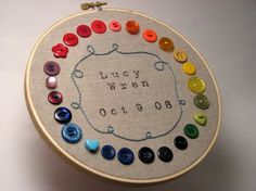 I made something similar for Will's nursery. Fun to play with an array for colored buttons.