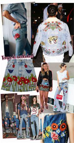 Bordado Jeans Moda Jeans, Estilo Jeans, Denim Art, Denim Ideas, Boho Designs, Denim Fashion, Jeans Style, Refashion, Fashion Boutique