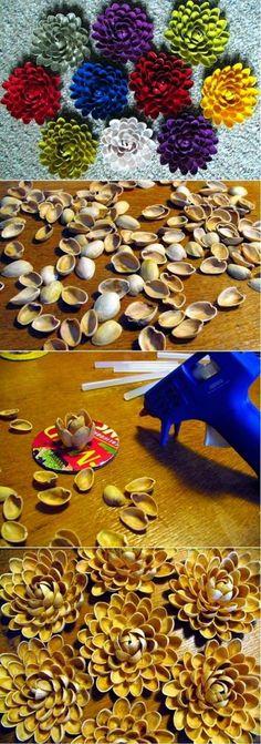 EL MUNDO DEL RECICLAJE: DIY flores con cáscaras de pistachos