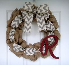Burlap Wreath with Chevron Ribbon and Initial by Creazi on Etsy, $45.00