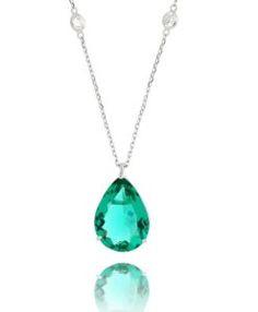 tiffany prata com pedra cristal e gota turmalina grande semi joias da moda