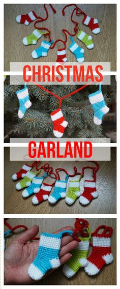 Christmas socks crochet garland Christmas garland Christmas decoration christmas gift holiday garland knitted bunting xmas fireplace decor  This garland is a beautiful Christmas decor. You can hang it on the wall, fireplace or the Christmas tree. Also garland can be used as decoration for a party. This creates a a magical atmosphere.  You can put candy or small gifts in these socks.