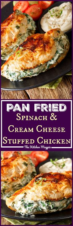Pan Fried Spinach & Cream Cheese Stuffed Chicken . This healthy chicken dish is fast and simple to prepare! Use low-fat cream cheese and Parmesan and you have a healthy dinner full of protein and veggies! Recipe from The Kitchen Magpie #recipe #chicken #cream