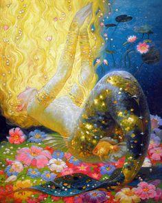 Victor Nizovtsev é un pintor de aceite maxistral de composición teatral figurativo, fantasía, paisaxes e natureza morta Art And Illustration, Victor Nizovtsev, Mermaids And Mermen, Merfolk, Mermaid Art, Psychedelic Art, Pretty Art, Mythical Creatures, Art Inspo