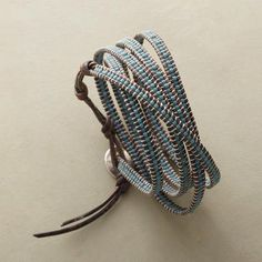 Chan Luu - blue seed beads, thin round leather cord, contrast stitching
