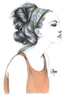 Hélène Cayre Fashion Illustrations on We Heart It. People Illustration, Floral Illustrations, Fashion Illustrations, Portrait Illustration, Illustration Artists, Style Blog, Cool Sketches, How To Draw Hair, Hair Art