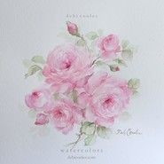 Τριαντάφυλλα πρωτότυπη ακουαρέλα ζωγραφική από Debi Κούλες