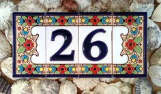 """Traditional Spanish ceramic number tiles, ideal for house number, 3"""" tall"""