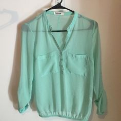 Garage chiffon shirt perfect for dressing up or dressing down, sleeve can be rolled up or down. perfect condition no rips or stains Garage Tops