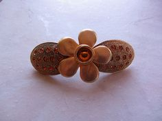 New listing added Handmade Barrette Repurposed Hair Barrette Yellow Gold Recycled Upcycled by HandmadeBarrettes