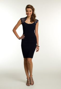 Transform this short cocktail dress into a dress for any special occasion and be as sophisticated and sexy as they come! The all lace back and cap sleeves feature makes for a stunning homecoming dress or even wear this as a guest of wedding dress for all guests to see. The scoop boat neckline is so lovely and shows just the right amount of skin while the just above the knee length skirt brings a bit more sensual allure to the ensemble. The metallic lace brings a hint of elegance with subtle ...