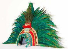 King Montezuma's Aztec Tribal Feather Headdress *Made to Order* by Tentacle Studio, available on Etsy.