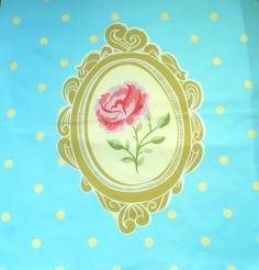 Cotton fabric panel SHABBY ROSE ON BLUE - Ready printed fabric panel for cushion cover , wall hanger or even apparel project . Panel is in cute Shabby Chic style theme , on blue dotted background , rose in frame . Floral Fabric, Cotton Fabric, Shabby Chic Style, Wall Hanger, Fabric Panels, Alchemy, Printing On Fabric, Craft, Rose
