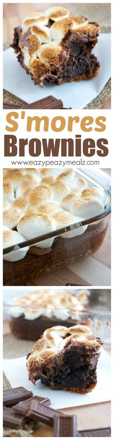 These brownies are MOUTHWATERING. You get all the fun of S'MORES without the campfire smell. So easy to make and delicious. - Eazy Peazy Mealz Edit - I don't eat marshmallows but this is so mouthwatering I had to share it with you guys Just Desserts, Delicious Desserts, Dessert Recipes, Yummy Food, Yummy Treats, Sweet Treats, Brownie Recipes, Dessert Bars, Fudge