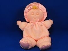 New product 'Eden Blond Asleep Baby Doll Pink Attached Dress Sleeper Bonnet' added to Dirty Butter Plush Animal Shoppe! - $12.00 - Eden Plush 10 inch Blonde Sleeping Baby Doll - Pink Velour Attached Dress Sleeper - Pink Satin Tummy, Feet - Pink Satin …