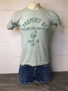 85996aeca478 RAYON BLEND Champion T-shirt 1981 Vintage 80s PSU/ Unique Portland State  University 88/12 Rayon Cotton Blend Shirt Phys Ed Gym Medium Tee