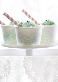 Confetti Sunshine: DIY : doily stenciled ice cream cups