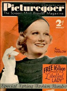 "Jean Harlow on the cover of ""Picturegoer"" magazine, United Kingdom, April 1937."